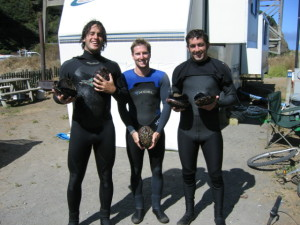 With our abalones after abalone diving